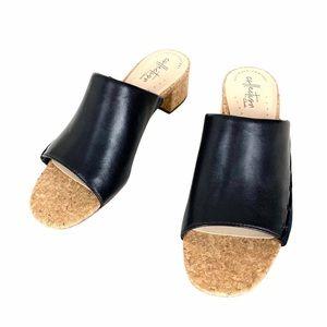 Clarks Collection Sandals Heels Black Leather Sz 7